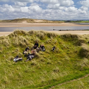 A group of anglers enjoying lunch on Bartragh on a beautiful day. May 2014.